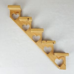 Stair Step Wall What-Not Shelf With Heart Shapes